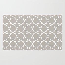 Classic Quatrefoil pattern, warm grey Rug