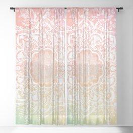 Mandala Bohemian Glitter Pink Gold Mint Sparkle Floral Wreath Illustration Sheer Curtain