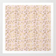 Rough Diamonds Faux Gold Blush Art Print