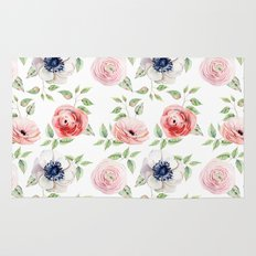Pretty Red Rose + Pink Roses Pattern Rug