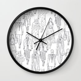 Fashion Line Illustration of Models in Black and White Wall Clock