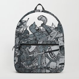 Saturday Knight Special STEEL BLUE / Vintage illustration redrawn and repurposed Backpack