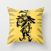 majoras mask Throw Pillows featuring Skullkid / zelda / majoras mask by tshirtsz