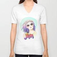 hologram V-neck T-shirts featuring J.E.M.✭✭✭✭✭ by Sara Eshak