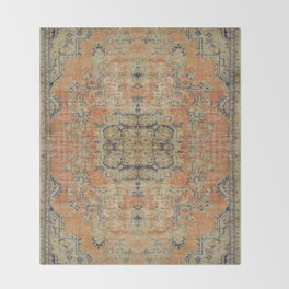 Vintage Woven Coral and Blue Kilim Throw Blanket