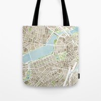 boston map Tote Bags featuring Boston Sepia Watercolor Map by Anne E. McGraw
