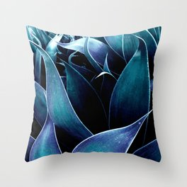 Turquoise Teal Blue Abstract Leaves Throw Pillow