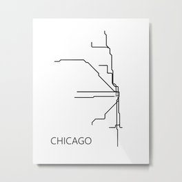 Chicago Metro Map - Black and White Art Print Metal Print