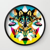 wolves Wall Clocks featuring wolves by Alvaro Tapia Hidalgo