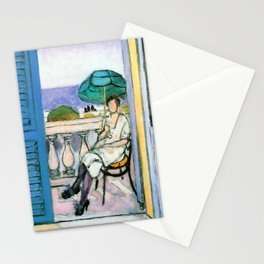 Henri Matisse Woman with a Green Parasol on a Balcony Stationery Cards