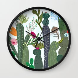 Cactus and Succulents Colorful Flowers Wall Clock