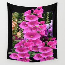 Fuchsia Pink Hollyhocks Floral Pattern Black Design Wall Tapestry
