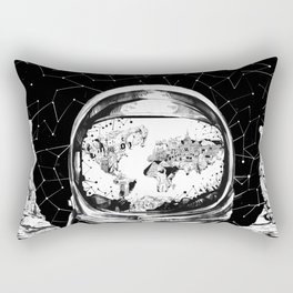 astronaut world map black and white 1 Rectangular Pillow
