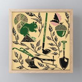 Farm Harvest Silhouette Green/Pink Framed Mini Art Print