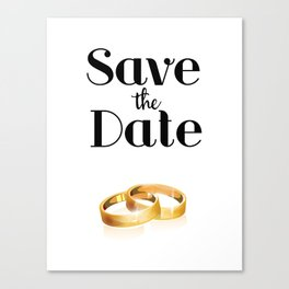 Save the Date Gold rings Canvas Print