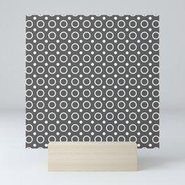 Dark gray and white circles and small polka dots pattern Mini Art Print