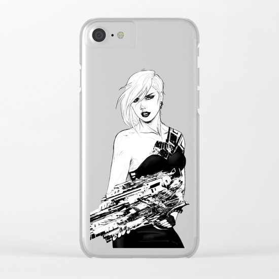 Arbitrary - Badass girl with gun in comic and pop art style Clear iPhone Case
