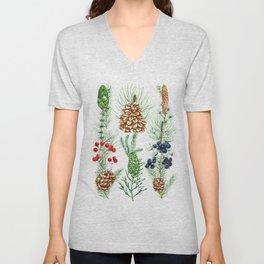 Watercolor of Conifers, Cones & Twigs Unisex V-Neck