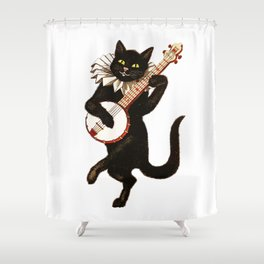 Black Halloween Cat for Decor and T Shirts Shower Curtain