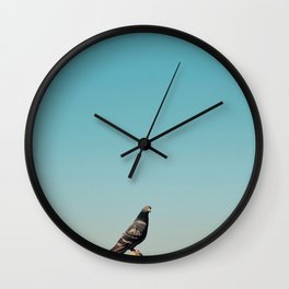 The pigeon is curious Wall Clock
