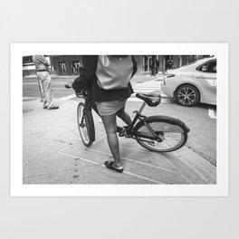 Street corner and city life - Black and white photo Art Print