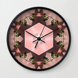 twisted geometric roses Wall Clock