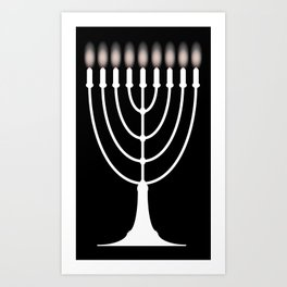 Menorh With Nine Candles Art Print