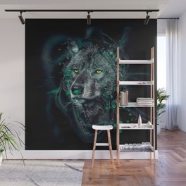Green indian wolf Wall Mural