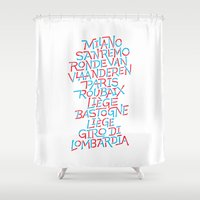 cycling Shower Curtains featuring Five Monuments of Cycling by Foster Type