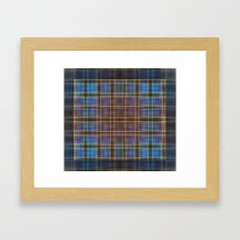 Blue and Gold Tartan Pattern Framed Art Print