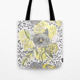 yellow and gray feathers Tote Bag