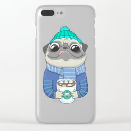 Pug with coffee Clear iPhone Case