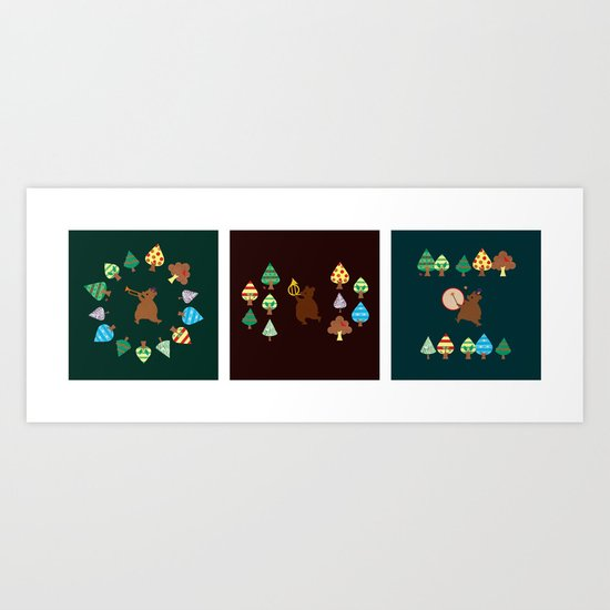 The Band in the Woods Triptych Art Print