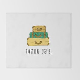 Adventure begins, suitcases are packed Throw Blanket