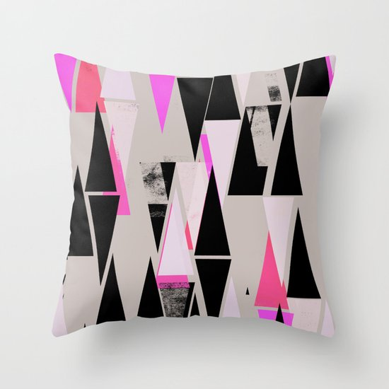 Pink Triangles II Throw Pillow