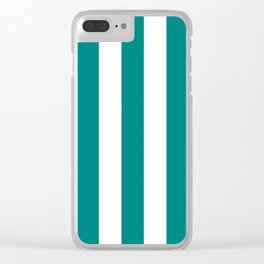 Teal green - solid color - white vertical lines pattern Clear iPhone Case