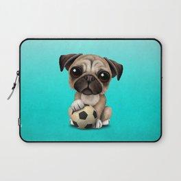 Cute Pug Puppy Dog With Football Soccer Ball Laptop Sleeve