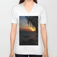 buddah V-neck T-shirts featuring Sunset from the Big Buddah Café by Ciaran Mcg