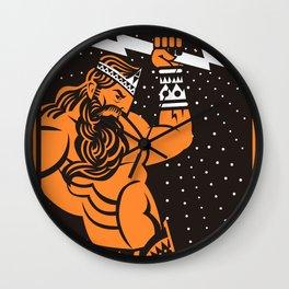 greek roman ray god jupiter zeus orange and black old plate painting Wall Clock