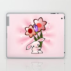 Little Pink Bunny With Flowers Laptop & iPad Skin