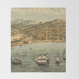 Vintage Pictorial Map of San Francisco (1884)  Throw Blanket
