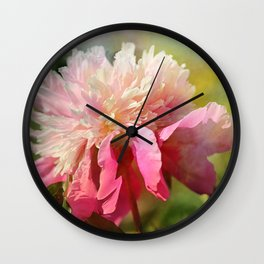 Pink Peony With Splash of Spring Wall Clock