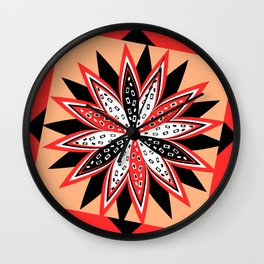 Floral red and black Wall Clock