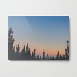 High Moon over Silhouetted Trees at Dusk Metal Print