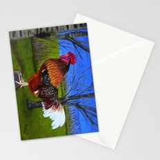 Rooster in the back yard Stationery Cards