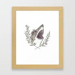 Floral Shark Framed Art Print