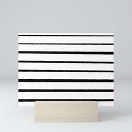 Black and White Rough Organic Stripes Mini Art Print