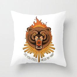 burning bear Throw Pillow