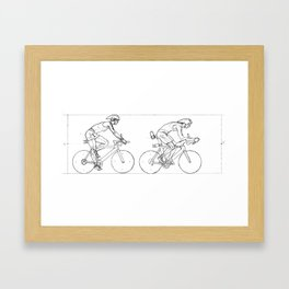 Transitions through Triathlon Cyclists Drawing A Framed Art Print