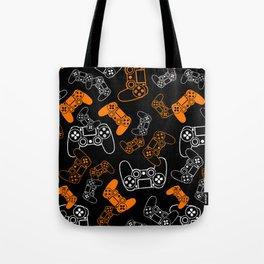Video Games Orange on Black Tote Bag
